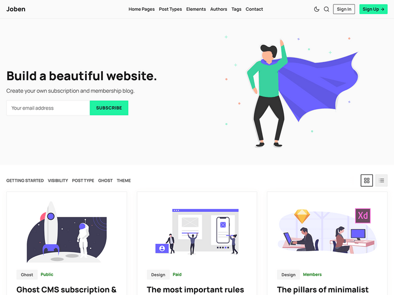 Joben - Subscription & Multipurpose Ghost Theme