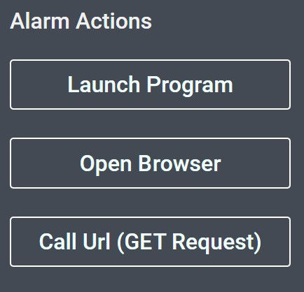 alarm actions screenshot