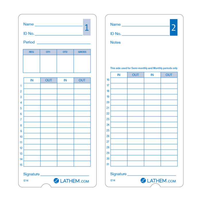 400E Time Cards - Pack of 100