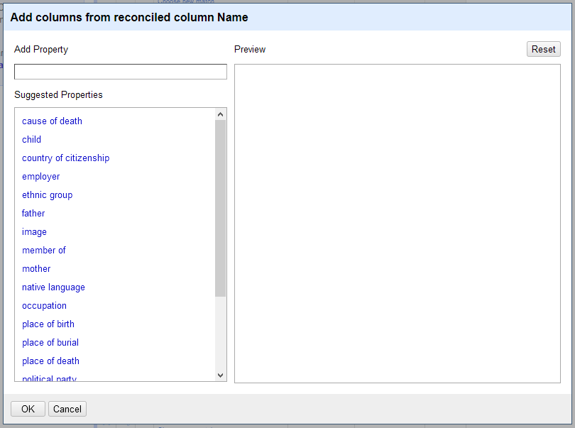 A screenshot of available properties from GND.