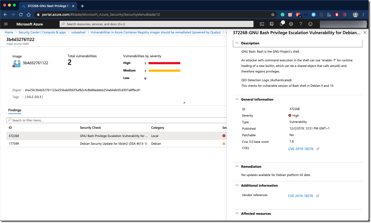 Azure Security Center - Actual findings on a Docker Image