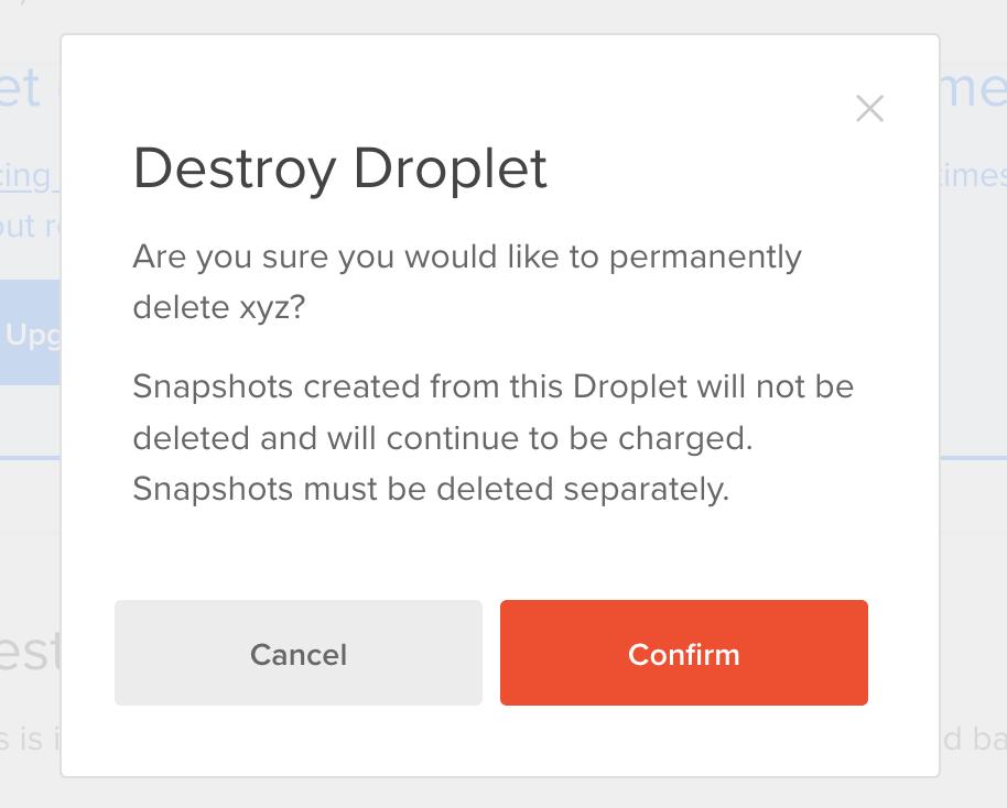 destroying DigitalOcean droplet