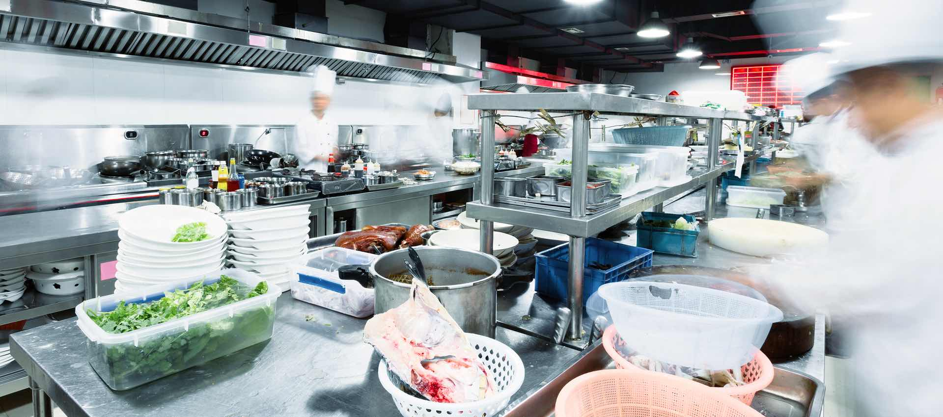 Food preparation in hotel commercial kitchen