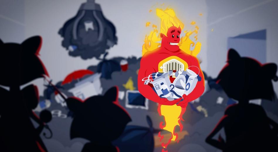 Illustration tirée de la vidéo de motion design pour la vidéo Les 3R à la rescousse.