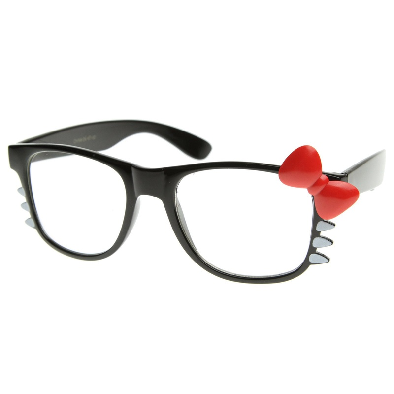 Hello Kitty Bow Clear Lens Glasses With Whiskers Side