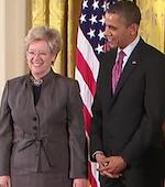 Sandra Faber with president Barrack Obama