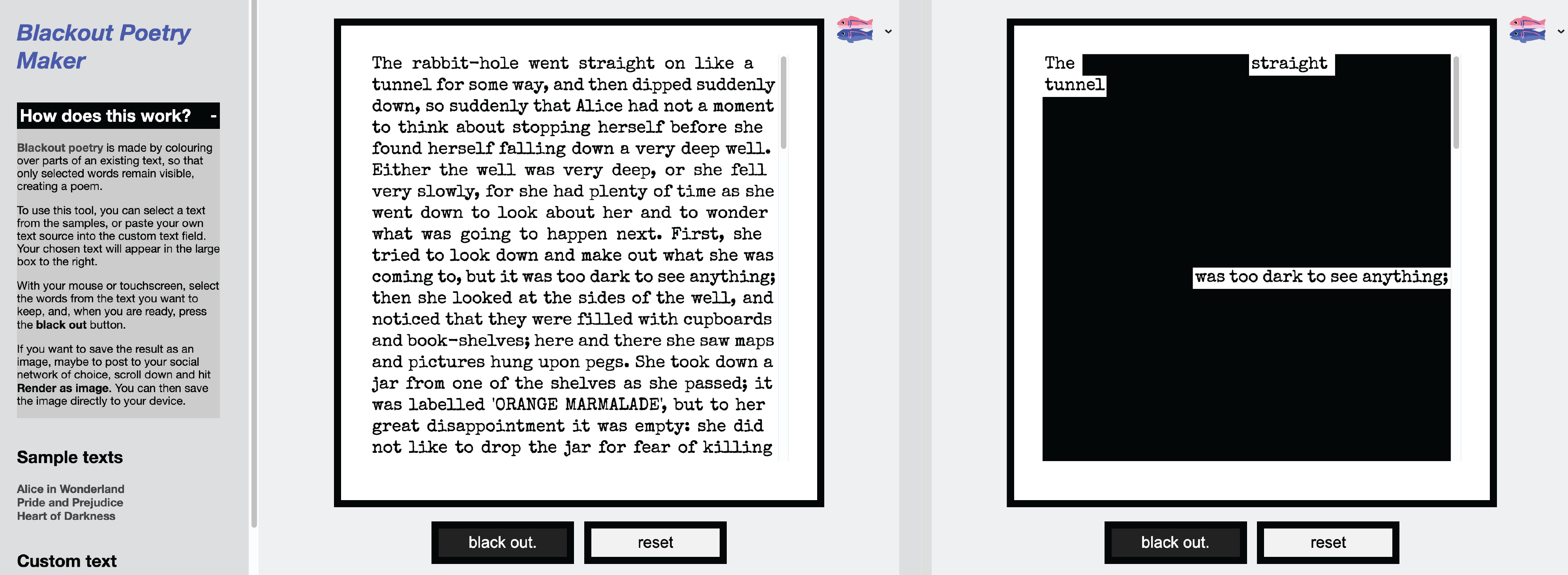 Make blackout poetry on Blackout Poetry Maker.