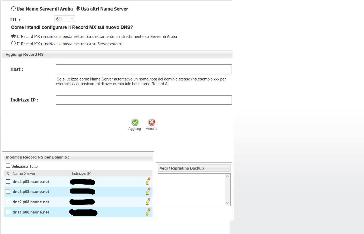 Inserimento Name Server Esterni su Aruba