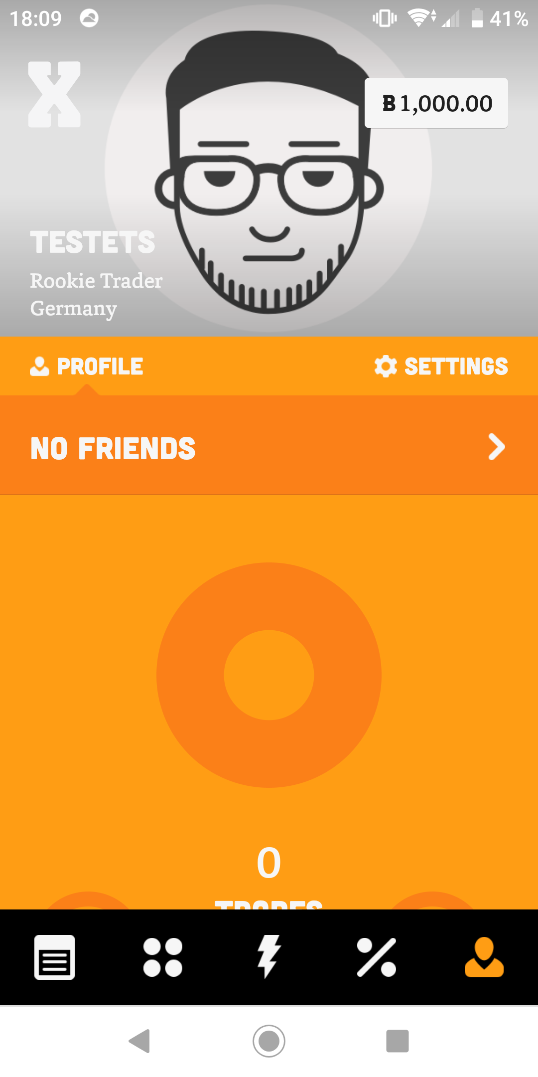 Aplikasi perdagangan saham BUX memberikan gambar profil default untuk semua pengguna baru.