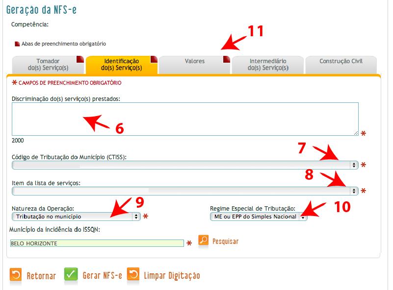 Passos 6, 7, 8, 9, 10 e 11 de como emitir nota fiscal BH ISS no simples nacional
