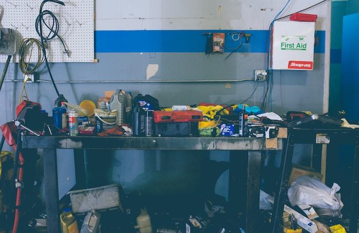 image of cluttered garage workspace