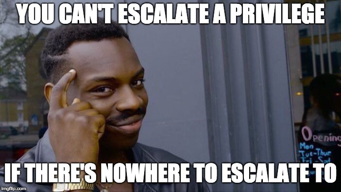 You can't escalate a privilege if there's nothing to escalate