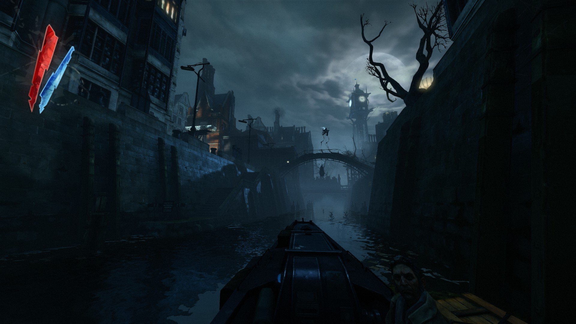 A dark and spooky city with a clock tower in the distance.