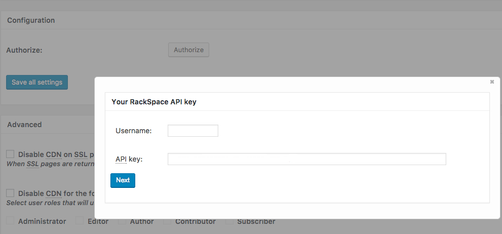 enter your rackspace cloud account information into the username and api key fields