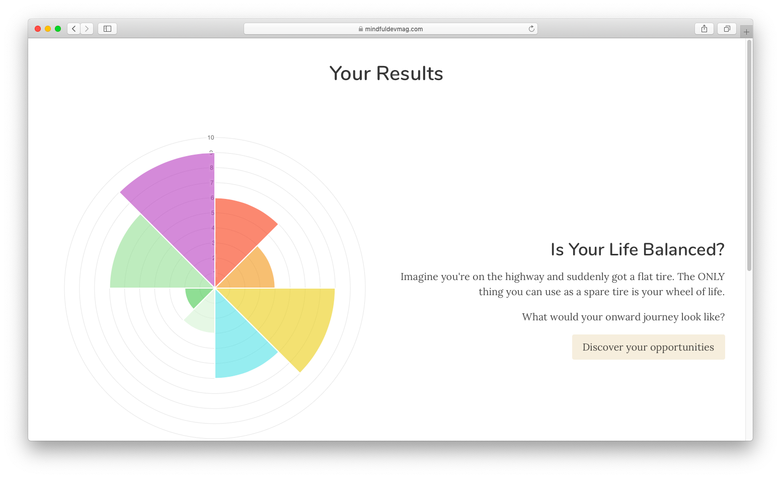 wheel of life result page