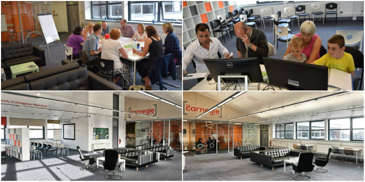 Collage of presentation suite and facilities in the hub