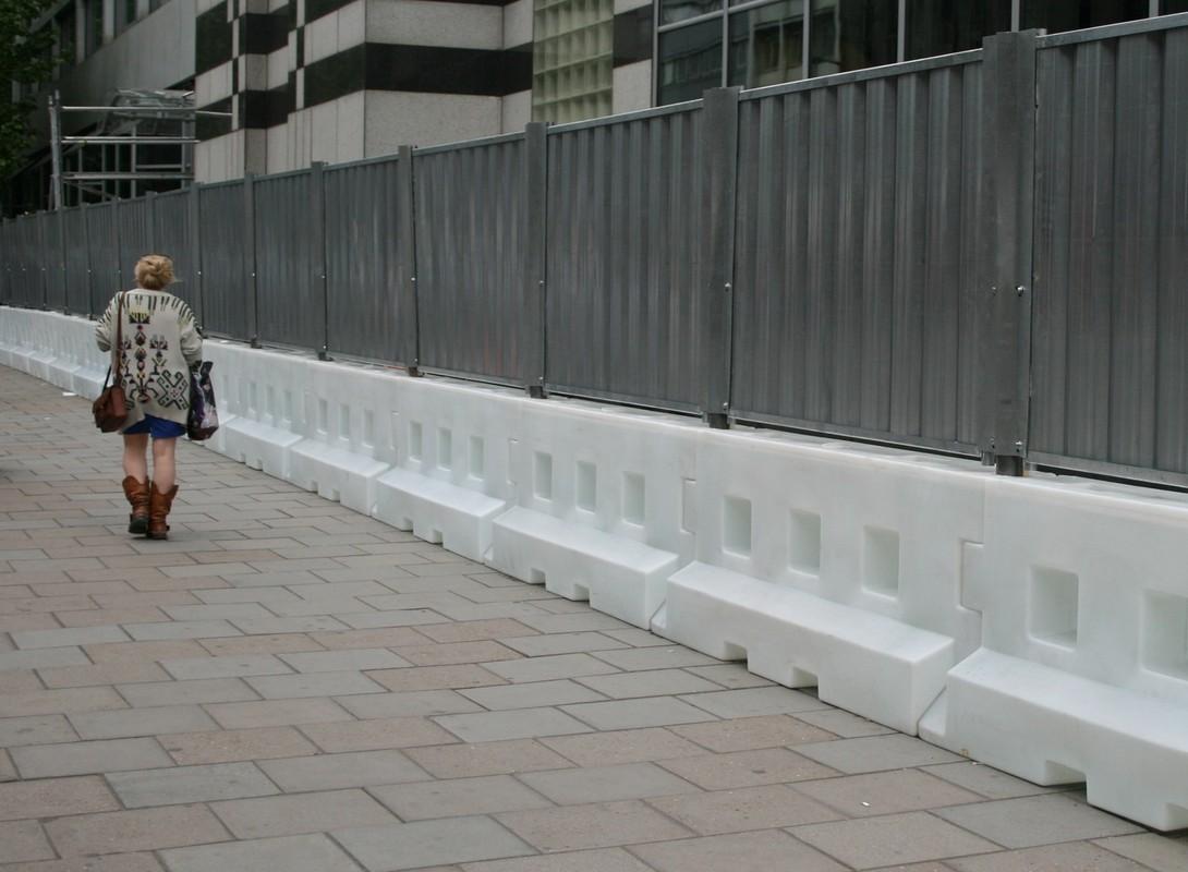 Water filled hoarding -white