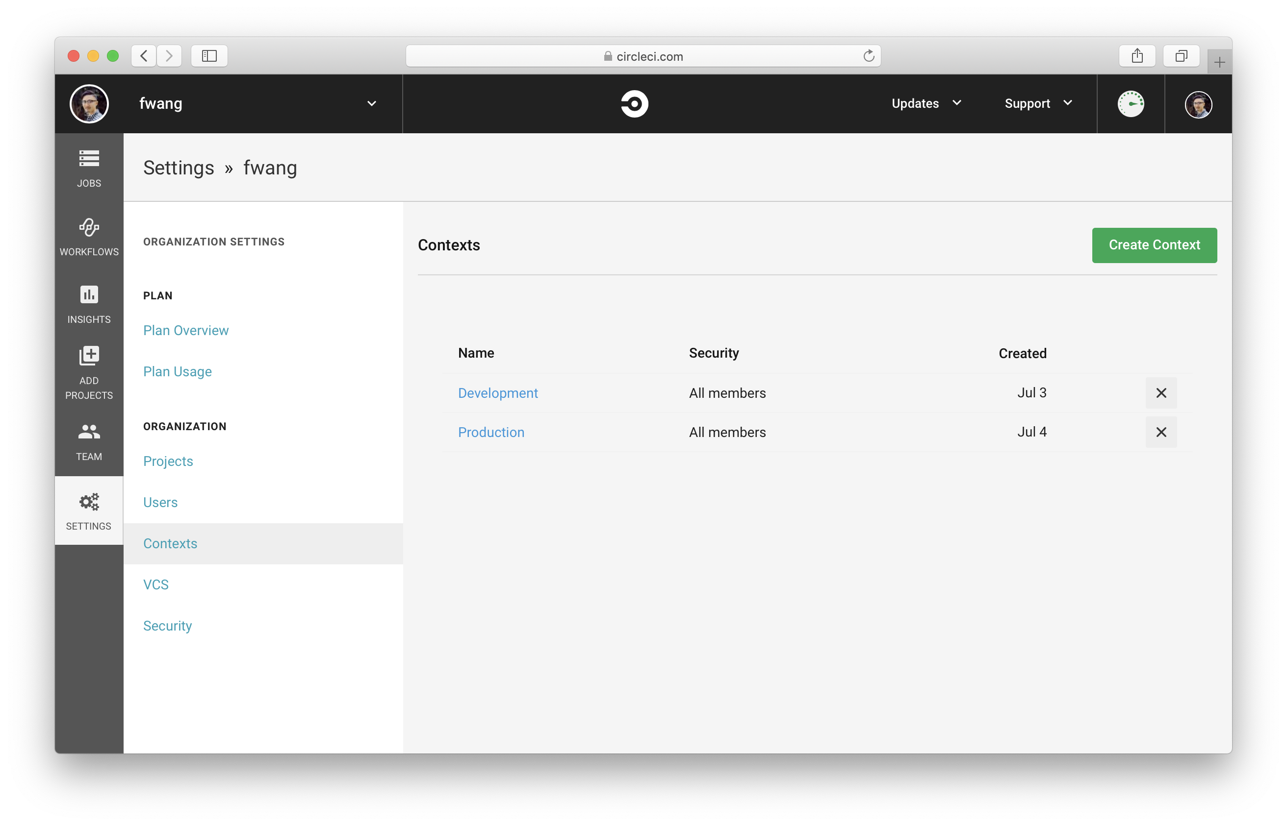 Create Production Context in CircleCI