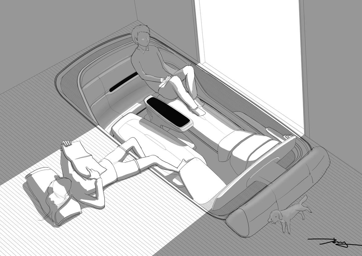 Illustration of Hyundia's idea of having the car be part of the home