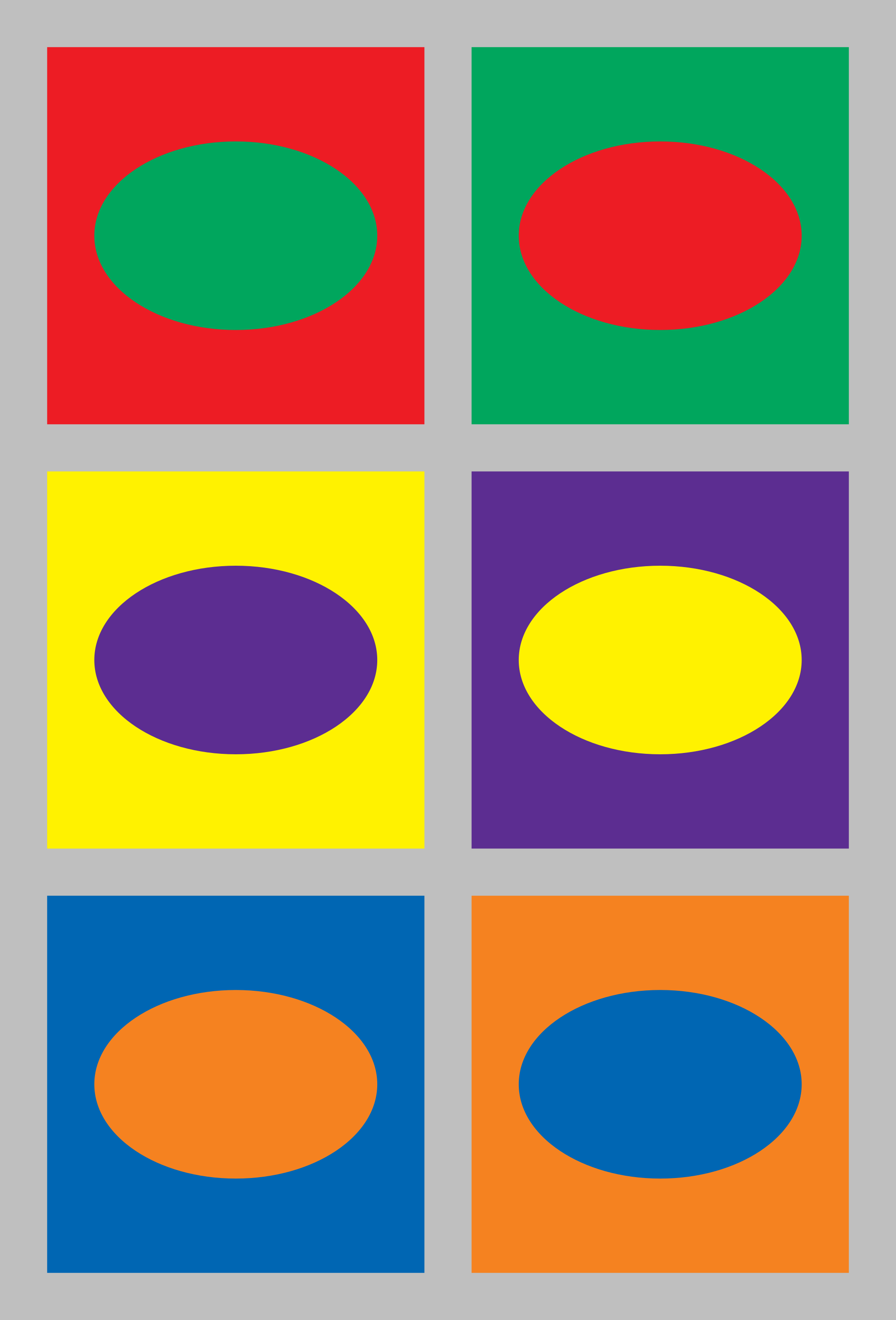 Several images of differently-colored ovals on differently-colored backgrounds