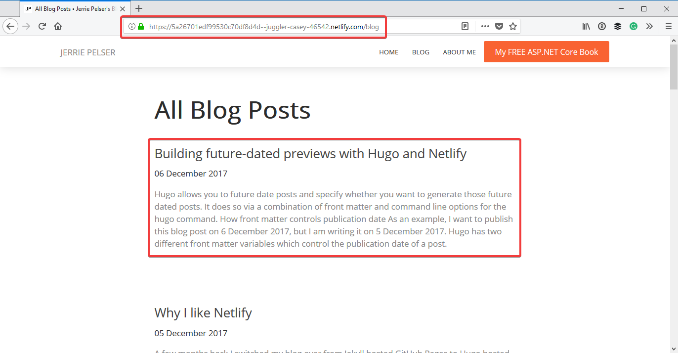 Future dated blog post generated by Netlify
