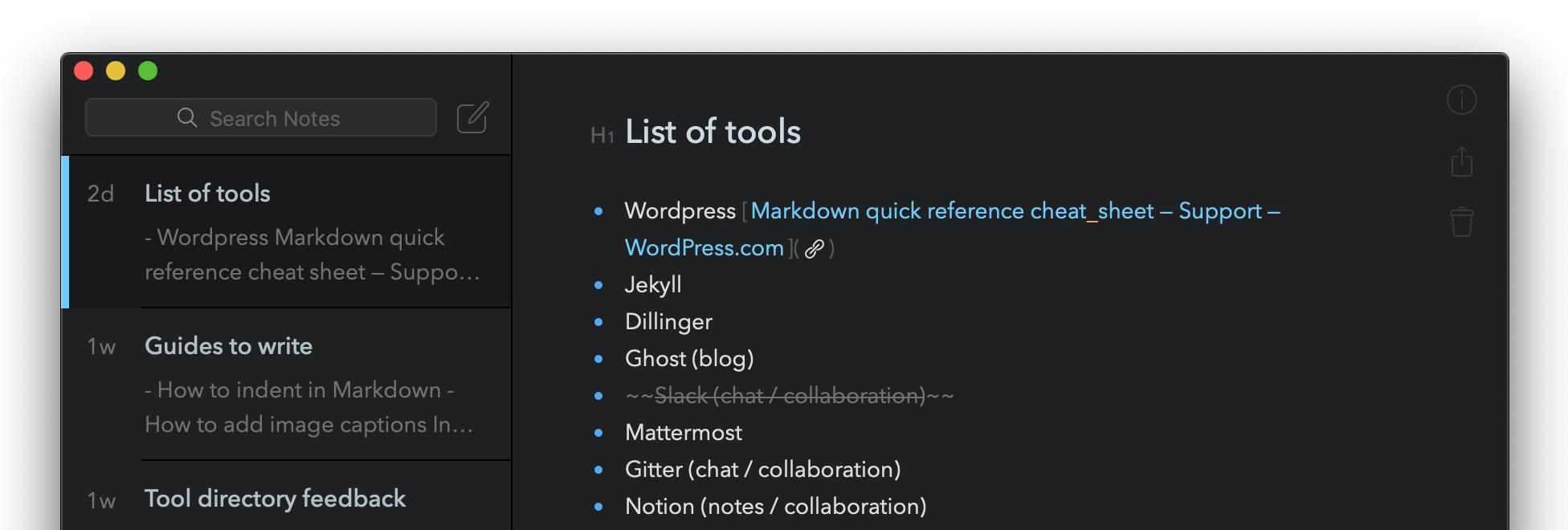Markdown in the Bear Markdown app