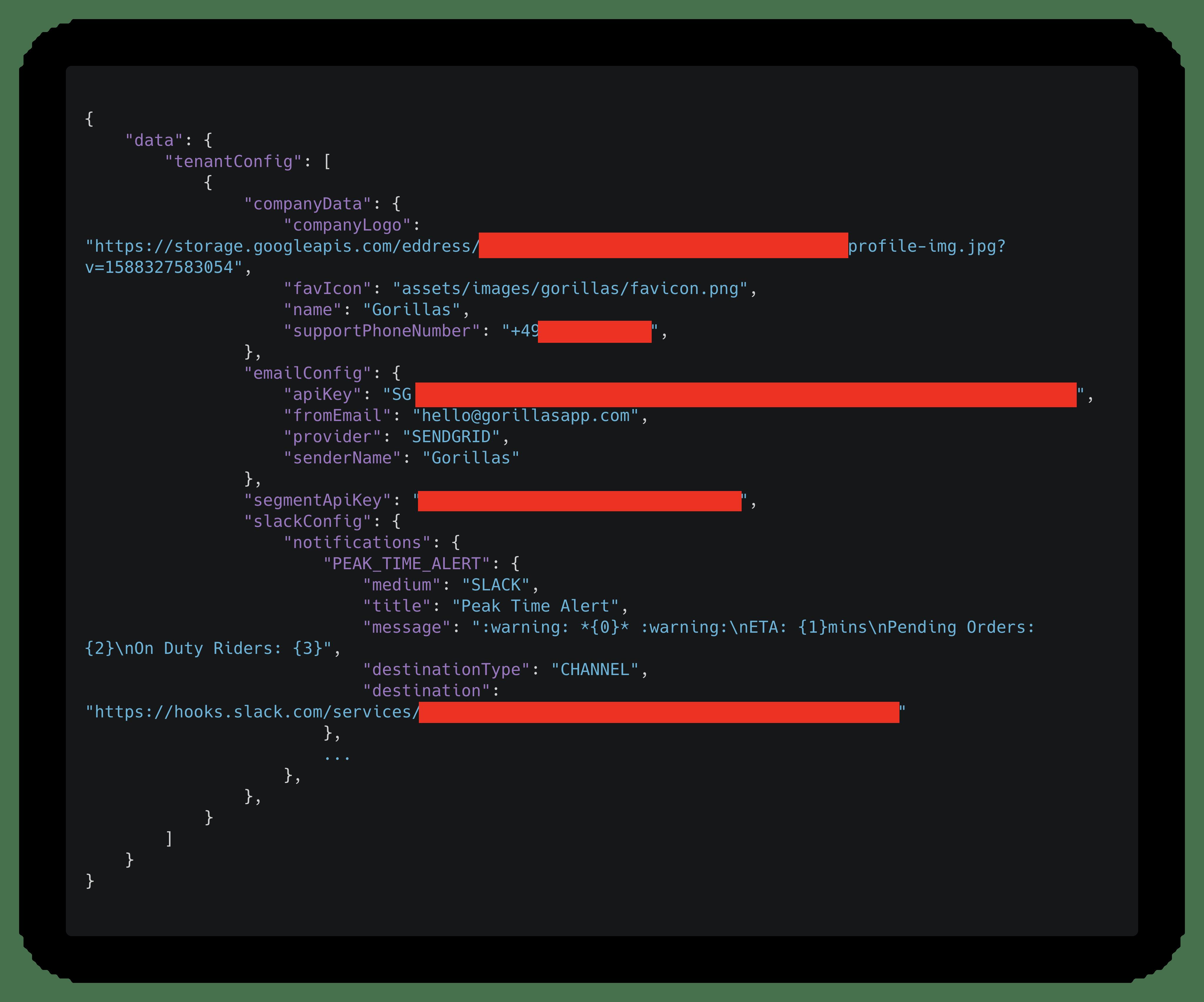 GraphQL API Response, die Daten zeigen Objekte wie 'emailConfig' mit apiKey, Absender-Emailadresse und 'slackConfig'.