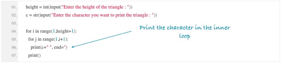 python print right angle triangle using star
