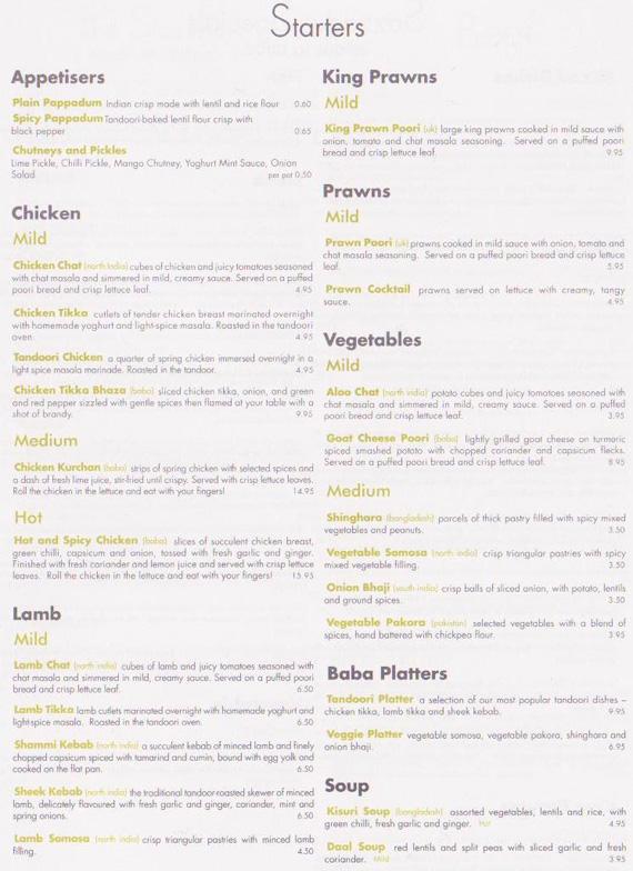 baba penzance takeaway menu indian