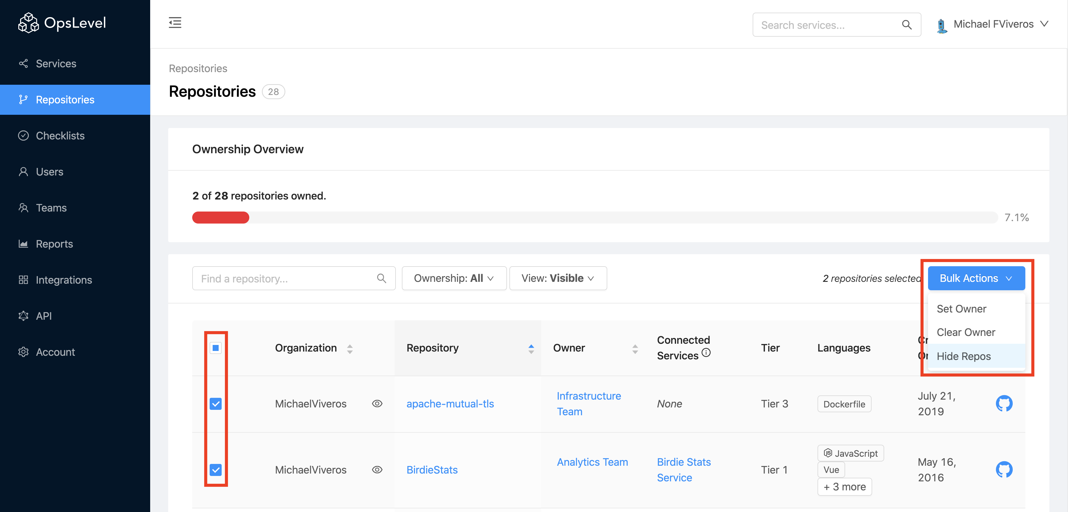 Repository Visibility Bulk Action Hide