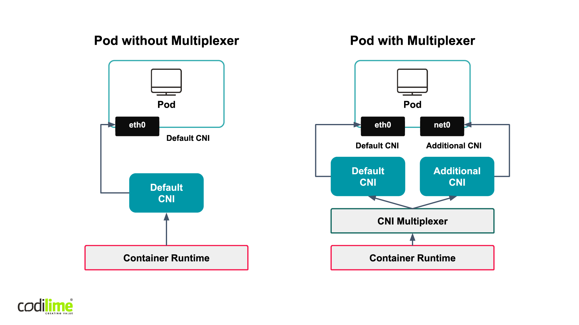 Pod with CNI multiplexer