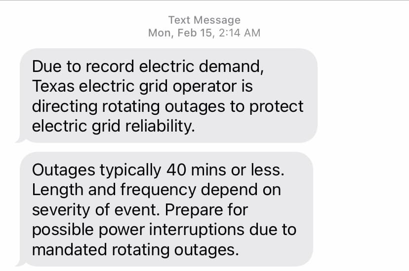 Text from Austin Energy saying power would go out
