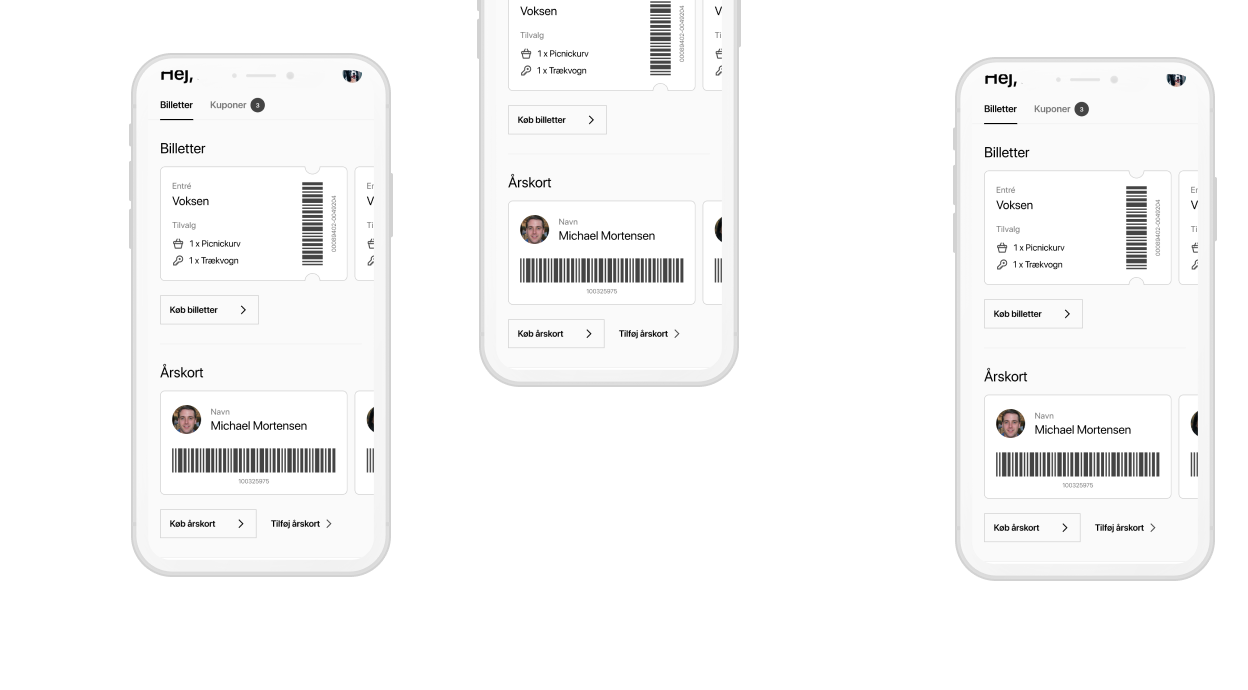 Three iPhones displaying wireframes from the ZOO app.