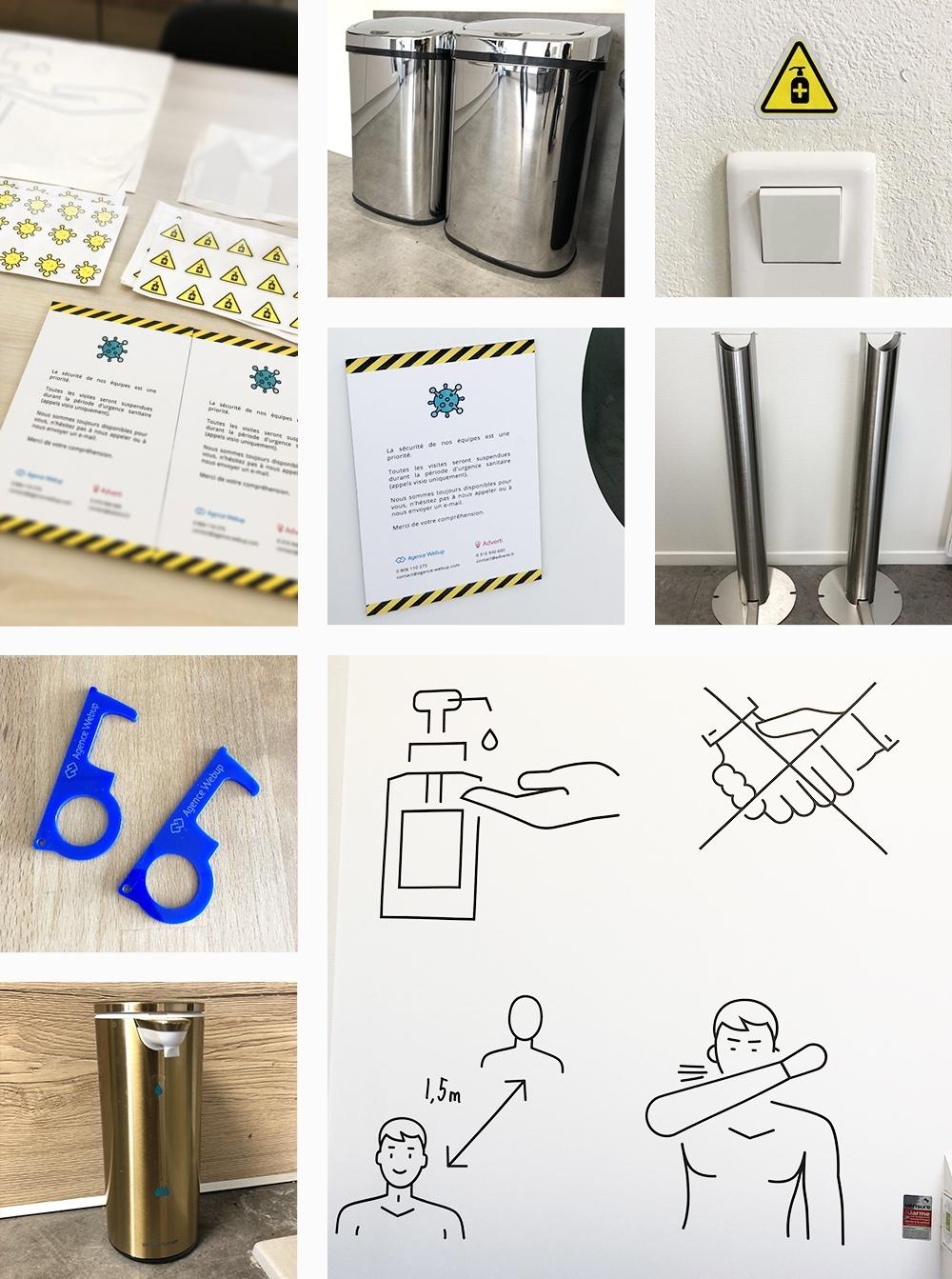 les stickers créés par l'agence pour affichage des zones sensibles