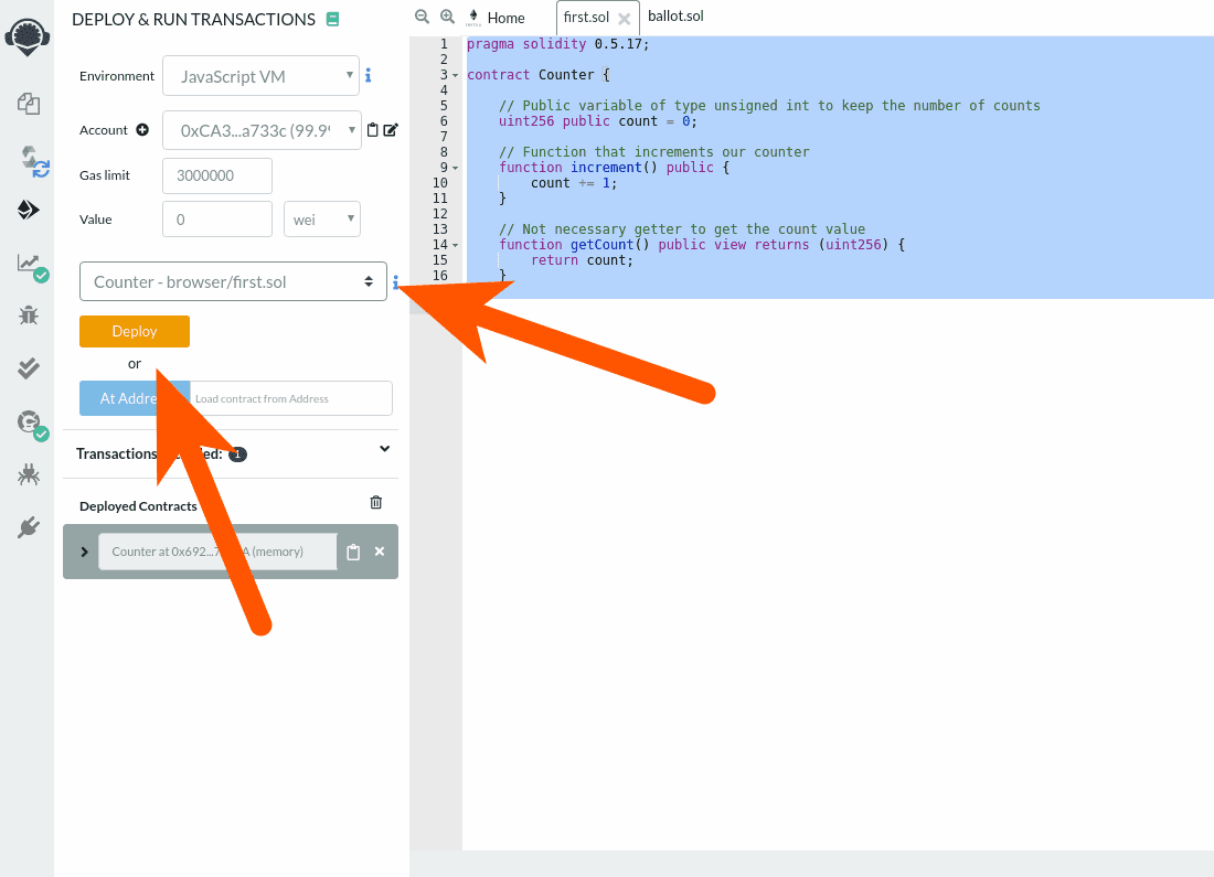 The deploy button in the Remix solidity compiler