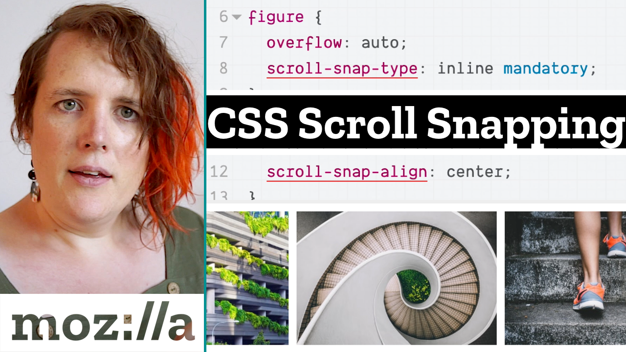 CSS code snippet of scroll-snap type and align