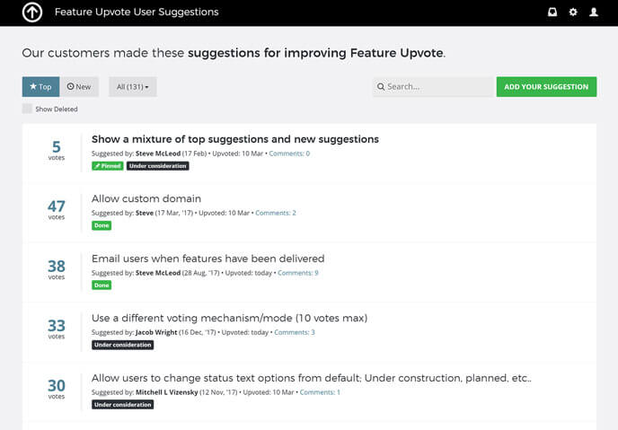 Screenshot of the Feature Upvote board