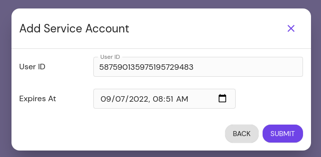 Adding an impersonated service account