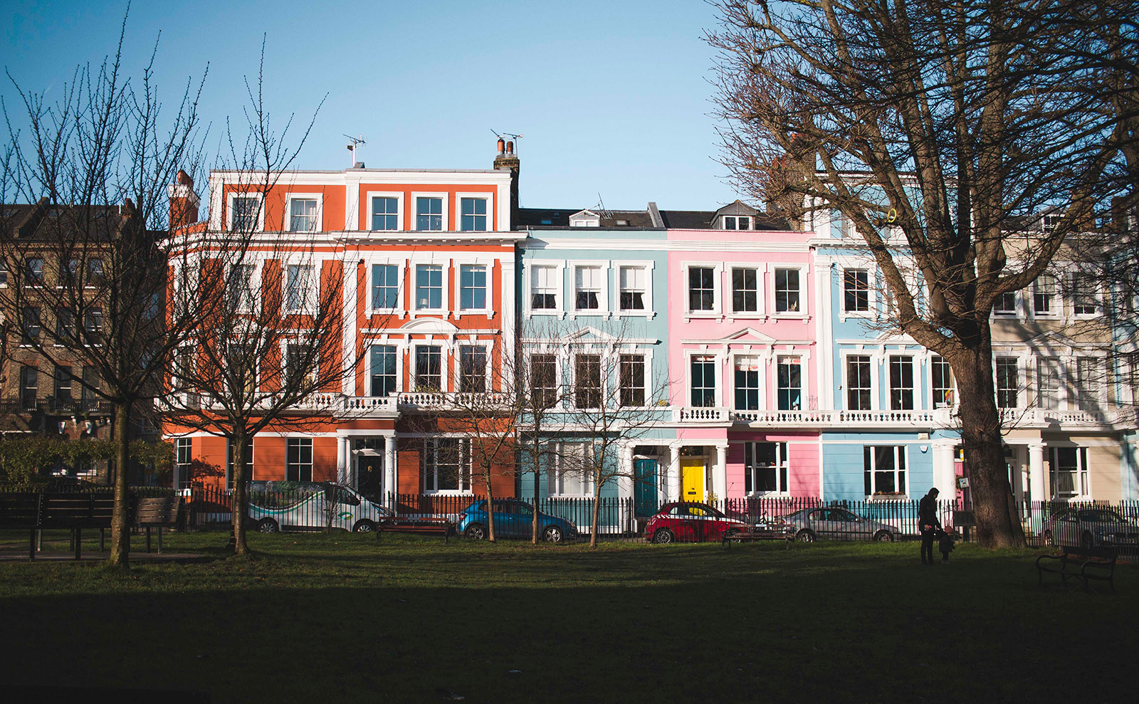 pastel-colored houses in the primrose hill neighborhood of london