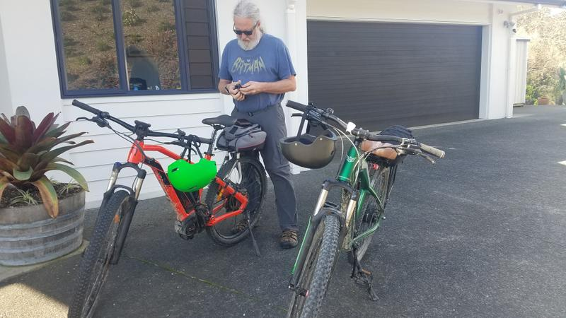 Tim prepping the bikes for a test ride