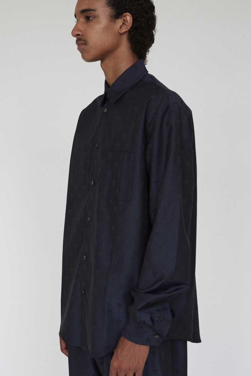 LINUS GMBH AW19 SHIRT NAVY FRONT SIDE
