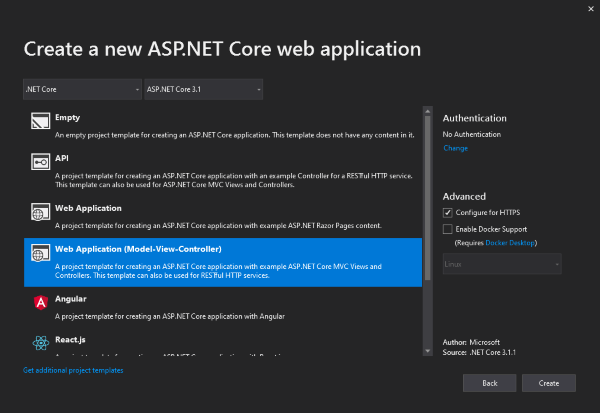 Screenshot: New ASP.NET Core MVC Project dialog