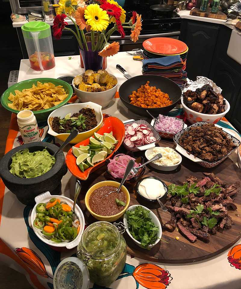 a bunch of taco fixins