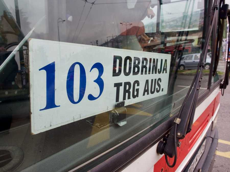 The bus number is in the front window of the bus.