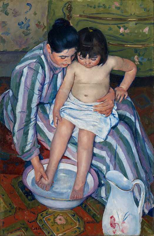 'Children Bath' by Mary Cassatt is one of the many examples for Impressionists painting what they saw around them.