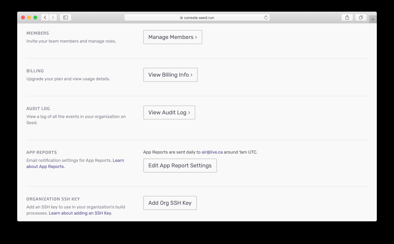 Click Audit Log in organization settings