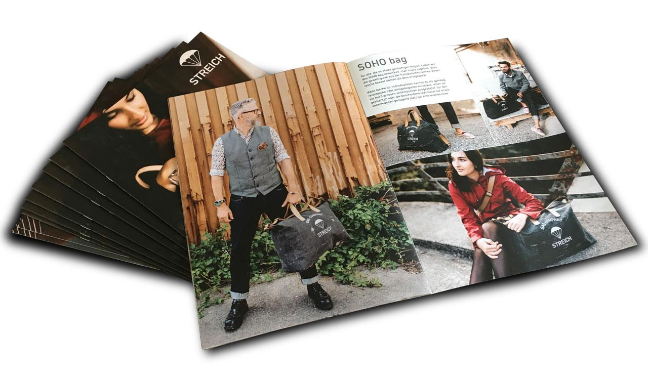 Streich Bags Broschüren Print Design