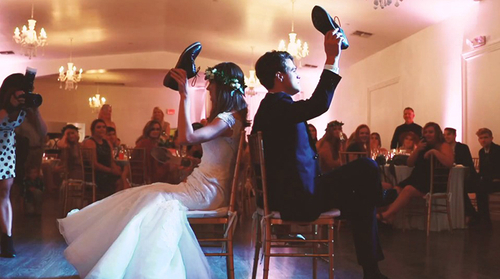 Wedding couple playing reception game
