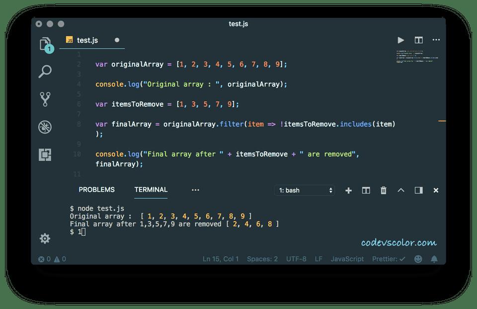 javascript delete element from array