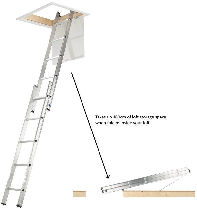 A 2 section aluminium ladder which is stored on the floor of your loft, taking up storage room, from B&Q.